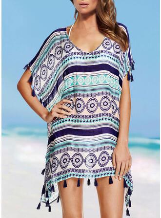 tofsar V-ringning Bohemiskt Strandklänningar Badkläder