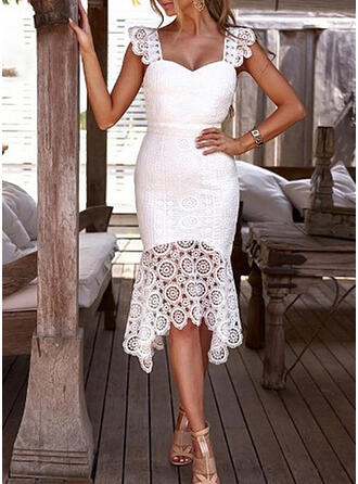 Lace/Solid Sleeveless Sheath Knee Length Party Dresses