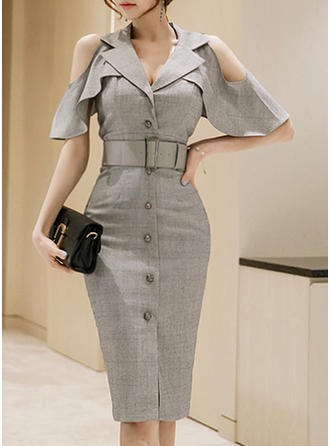 Solid Cold Shoulder Sleeve Sheath Knee Length Casual/Elegant Dresses