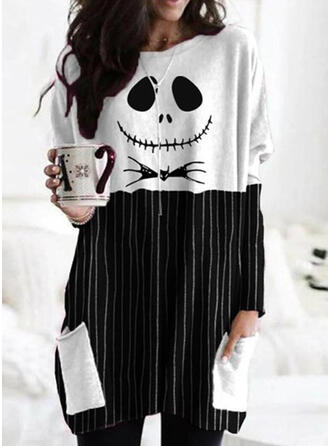 Print Striped Halloween Round Neck Long Sleeves Sweatshirt