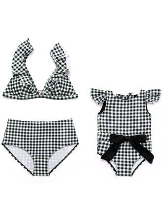 Mommy and Me Plaid Matching Swimsuit