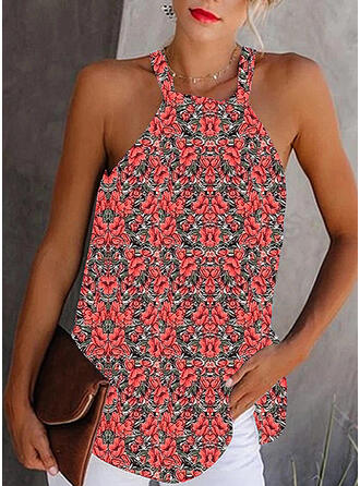Impresión Floral Cuello redondo Sin mangas Sexy Blusas
