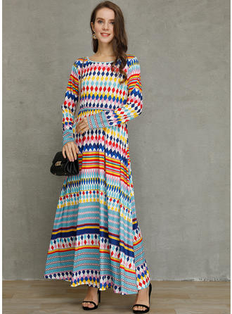 Geometric Print 3/4 Sleeves Shift Maxi Casual Dresses