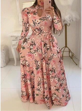 Print/Floral Long Sleeves A-line Casual/Elegant/Plus Size Maxi Dresses