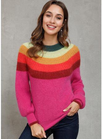 Geblockte Farben Rundhalsausschnitt Pullover