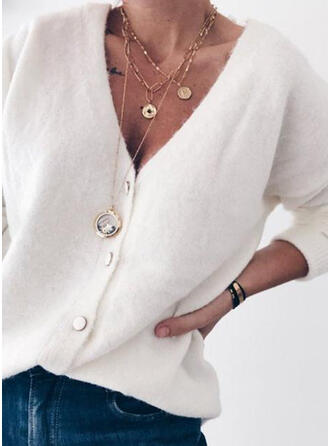 Solid V neck Cardigan