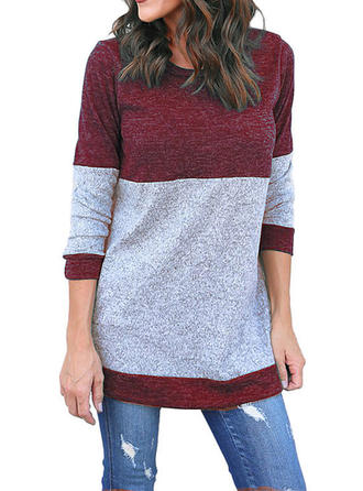 Polyester Cotton Round Neck Color Block Sweater