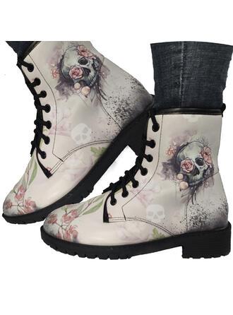 Frauen PU Niederiger Absatz Stiefel mit Bestickt Schuhe