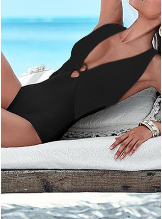 senza schienale buco della serratura Attraversare A bikini Scollatura a V Senza spalline Sexy Stile classico Retro Costumi interi Costumi Da Bagno