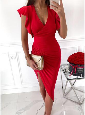 固体 半袖 フリルスリーブ ボディコンドレス 膝上 エレガント ドレス