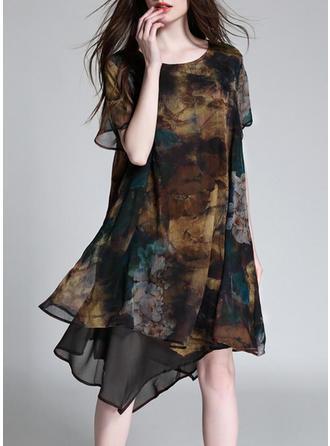 Chiffon With Stitching/Print Knee Length Dress