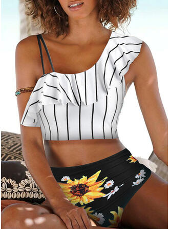 Stripe High Waist Print Strap Vintage Bikinis Swimsuits