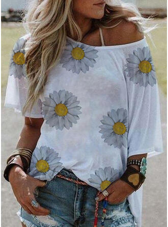 Print Floral One-Shoulder Short Sleeves Casual T-shirts