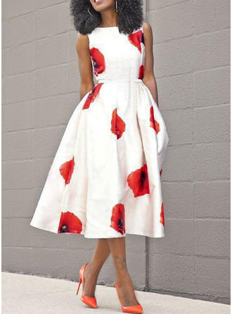 Print Floral Solid Round Neck Midi A-line Dress