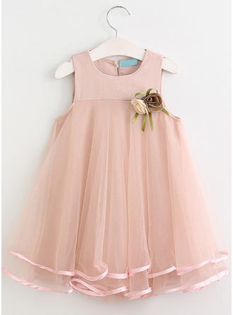 Girls Round Neck Solid Cute Dress