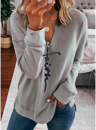 Drucken Figur V-Ausschnitt Lange Ärmel Pullover