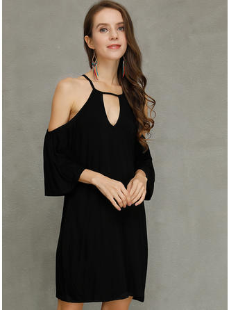Solid Cold Shoulder Sleeve Shift Above Knee Little Black/Party Dresses