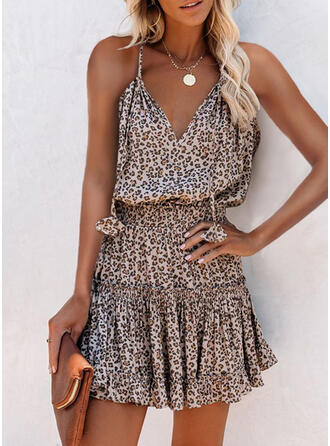 Leopard Sleeveless A-line Above Knee Casual Dresses