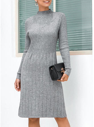 Solid Cable-knit Stand Collar Sweater Dress