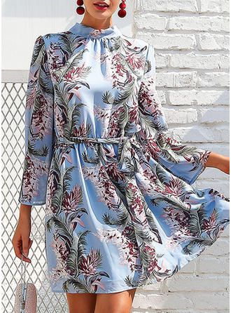 Print Floral Stand collar Above Knee Shift Dress