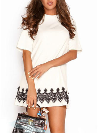 Print Round Neck Above Knee Sheath Dress