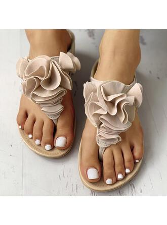 Vrouwen PU Flat Heel Sandalen Flip Flops Slippers met Bloem Elastiek schoenen