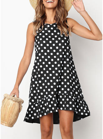 PolkaDot Sleeveless Shift Above Knee Casual Dresses