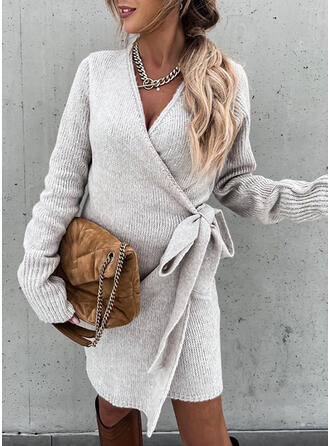 Solid Long Sleeves Dropped Shoulder Sheath Above Knee Casual Sweater/Wrap Dresses