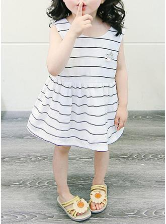 Дівчата Кругла шия Смугастий Випадковий Милий сукня