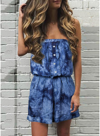 Print Strapless Sleeveless Casual Romper