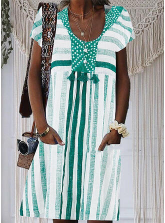 Print/Striped Short Sleeves Shift Knee Length Casual/Vacation Dresses