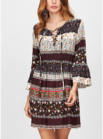 Print/Floral 3/4 Sleeves/Flare Sleeves A-line Above Knee Casual/Boho/Vacation Dresses