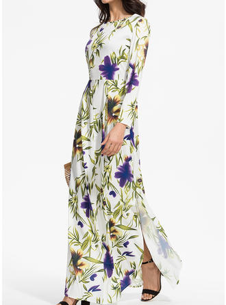 Print/Floral Long Sleeves A-line Maxi Casual/Elegant Dresses