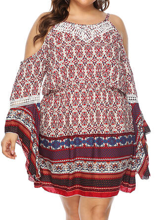Print Long Sleeves/Flare Sleeves/Cold Shoulder Sleeve Sheath Above Knee Casual/Boho/Vacation/Plus Size Dresses