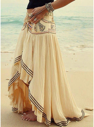 Polyester Print Floor-Length Pleated Skirts A-Line Skirts