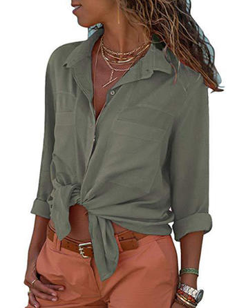 Solid Lapel Long Sleeves Button Up Shirt Blouses