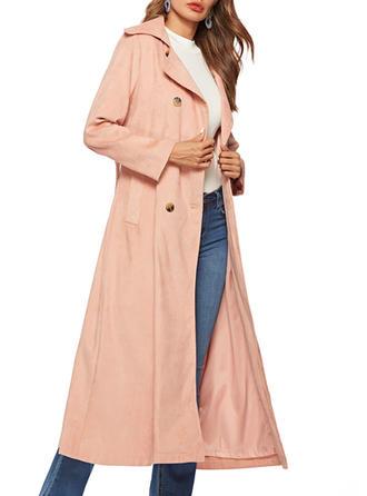 Poliester Długie rękawy Jednolity kolor Trencz Płaszcze