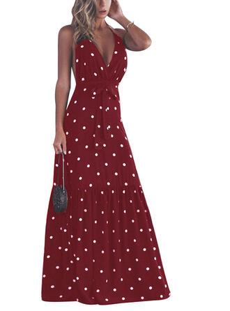 PolkaDot Sleeveless A-line Sexy/Casual/Party/Vacation Maxi Dresses