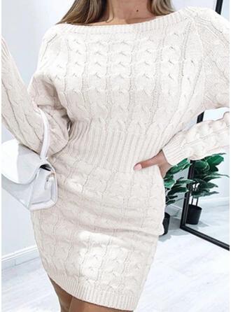 Solid Lange ærmer Bodycon Over knæet Casual Sweater Kjoler (199330854)