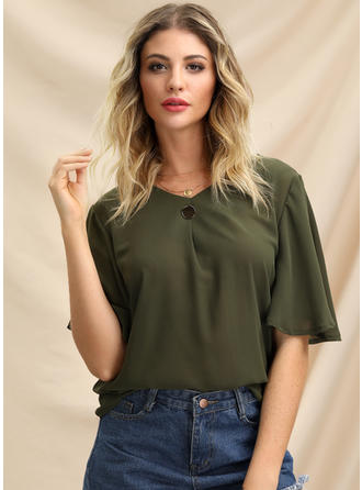 Solid V Neck Flare Sleeve Short Sleeves Casual Blouses