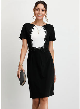 Embroidery Short Sleeves Sheath Knee Length Party/Elegant Dresses