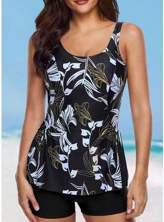 Leaves Print Strap V-Neck Elegant Classic Tankinis Swimsuits