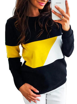 Color Block Patchwork Round Neck Long Sleeves Casual T-shirts