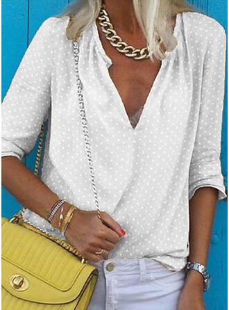PolkaDot V-Neck Long Sleeves Casual Blouses