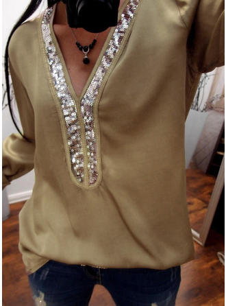 Cotton V Neck Sequins Long Sleeves Casual Blouses