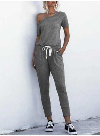 Solide One-shoulder Korte Mouwen Casual Jumpsuit