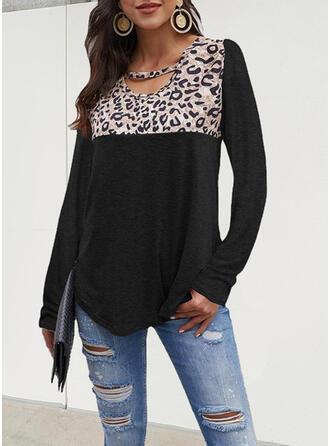 Leopard Druck Rundhalsausschnitt Lange Ärmel T-Shirts