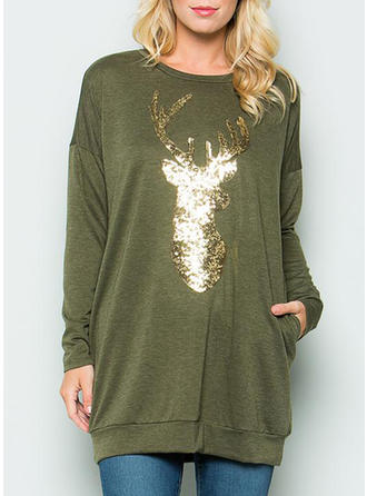 Solid Round Neck Long Sleeves Casual Christmas Blouses