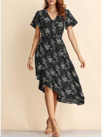 Nadrukowana Krótkie rękawy W kształcie litery A Asymetryczna Casual/Wakacyjna Sukienki