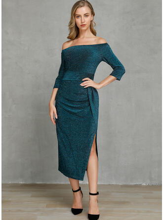 Sequins/Solid 3/4 Sleeves Sheath Midi Sexy/Party Dresses